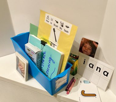 Homework \ Angelman Syndrome News \ Juliana's homework box, with picture cards and custom resources from a former teacher