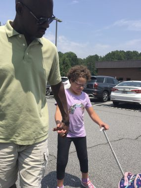 school \ Angelman Syndrome News \ Juliana and her dad head to school.