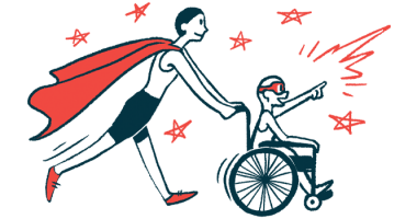 rare disease clinical trial participants | Angelman Syndrome News | Illustration of woman in cape pushing child in wheelchair