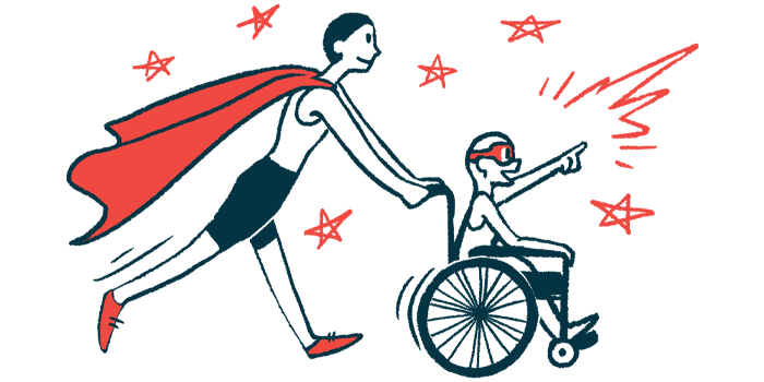rare disease clinical trial participants   Angelman Syndrome News   Illustration of woman in cape pushing child in wheelchair